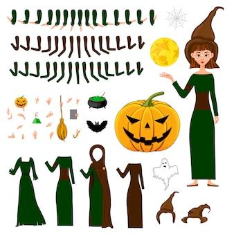 Construtor de halloween conjunto de personagens femininas.