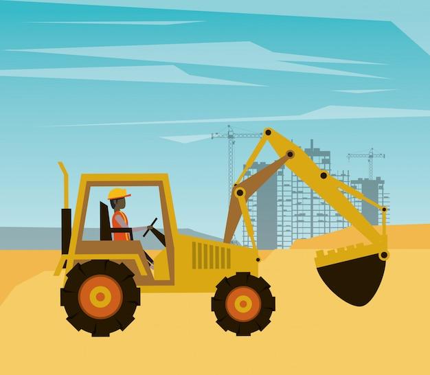 Construtor de homem trabalhando em cena de construção