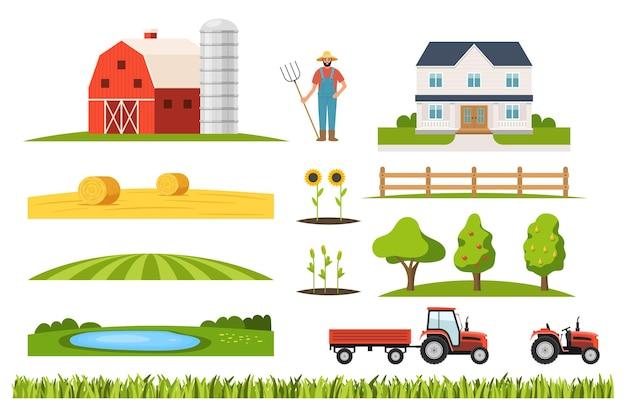 Construtor de infraestrutura agrícola com fazendeiro e trator. conjunto de jardineiro e casa de fazenda, maquinário de transporte de terras agrícolas, jardim de pomar, lago, ilustração vetorial de kit de vila de plantação rural