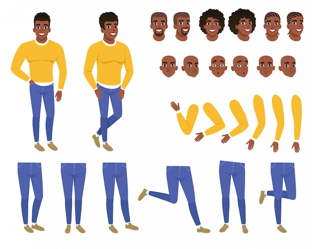 Construtor de jovem negro. cara de camisola amarela e azul jeans. conjunto de criação. partes do corpo, penteados e expressões faciais. personagem de desenho animado vetor plana