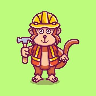 Construtor de macacos fofo carregando um martelo