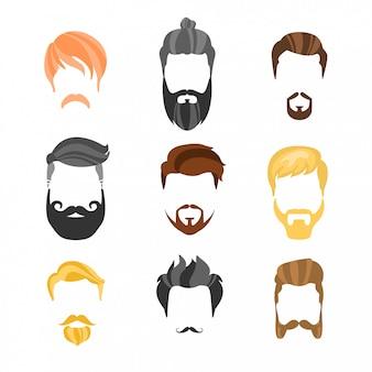 Construtor de penteado masculino para coleção hipster de rosto
