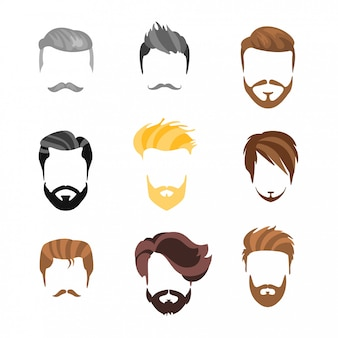Construtor de penteado masculino para conjunto de rosto
