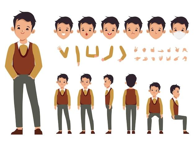 Construtor de personagem de empresário para diferentes poses conjunto de vários rostos masculinos