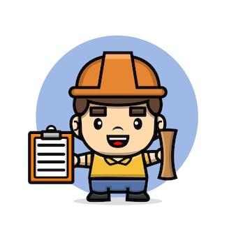 Construtor de personagens fofinhos segurando a prancheta e o projeto
