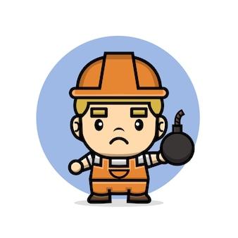 Construtor de personagens fofinhos segurando bomba