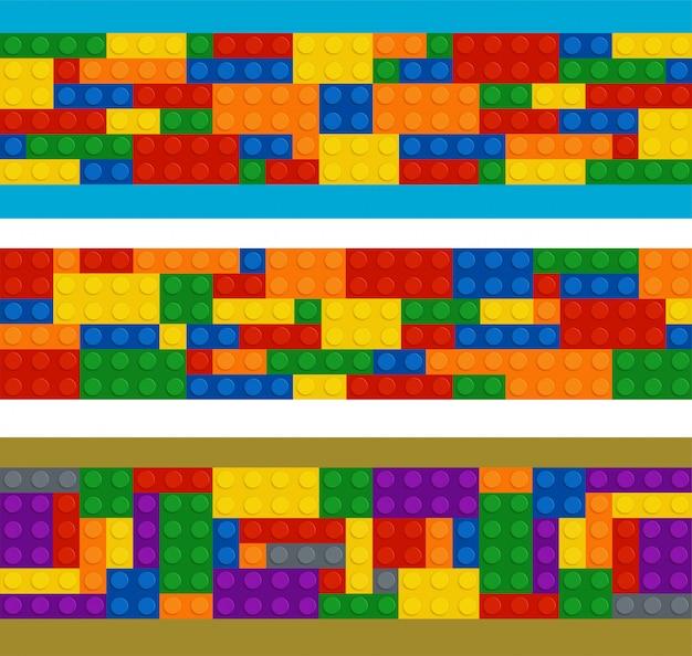 Construtor de plástico em ordem horizontal, conjunto de peças de cores diferentes