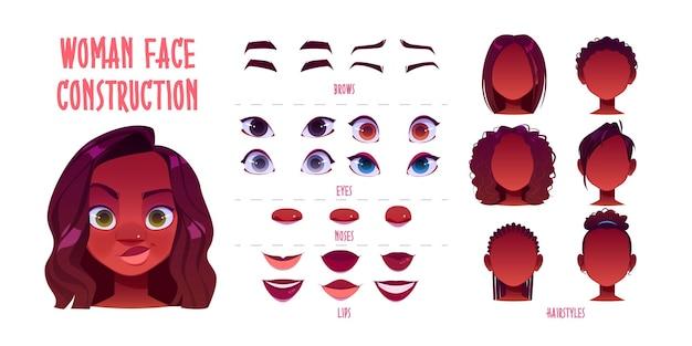 Construtor de rosto de mulher, avatar de cabeças de pele escura de criação de personagem feminino afro-americano, penteado, nariz, olhos com sobrancelhas e lábios.