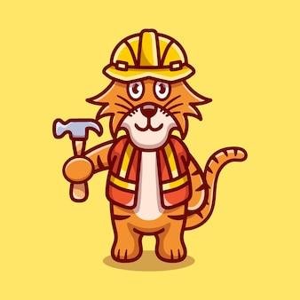 Construtor de tigre fofo carregando martelo