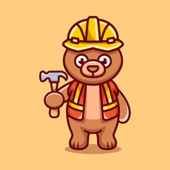 Construtor de urso fofo carregando martelo