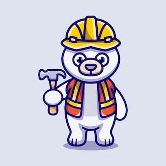 Construtor de urso polar bonito carregando martelo