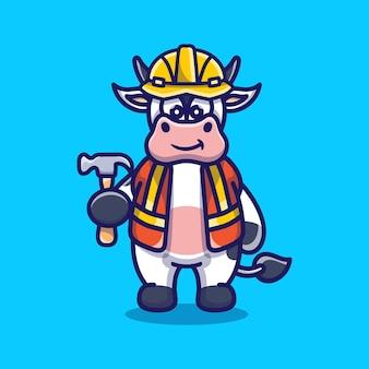 Construtor de vacas fofinho carregando martelo