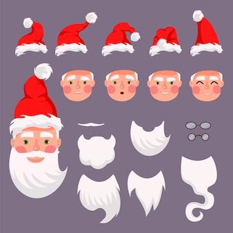 Construtor de vetor santa. chapéus de papai noel, bigode, barbas e óculos. crie seus cartões de natal e ano novo.