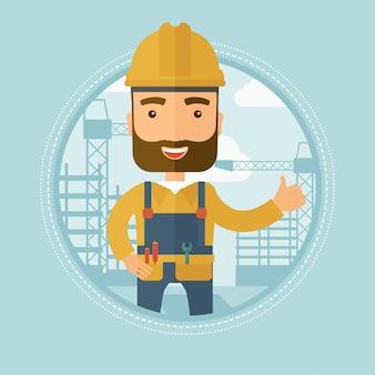 Construtor desistindo polegar