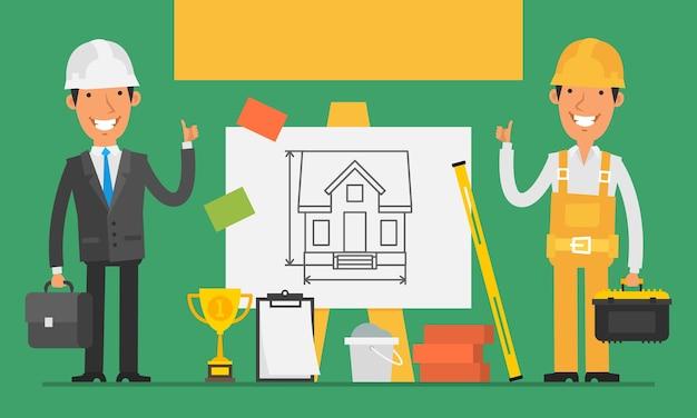 Construtor e engenheiro de conceito de construção mostram polegares para cima. ilustração vetorial. definir objetos.
