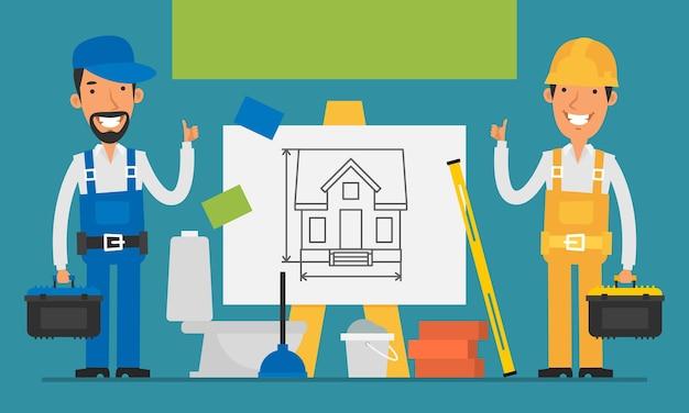 Construtor e reparador de conceito de construção mostram polegares para cima. ilustração vetorial. definir objetos.