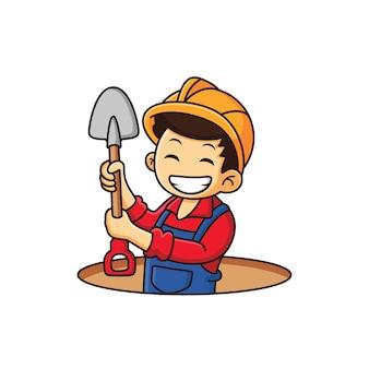Construtor está trabalhando para fazer um desenho animado de buraco
