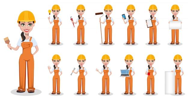 Construtor feminino bonito de uniforme