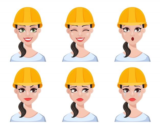 Construtor feminino bonito no capacete