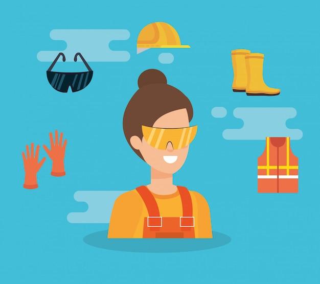 Construtor feminino com equipamento