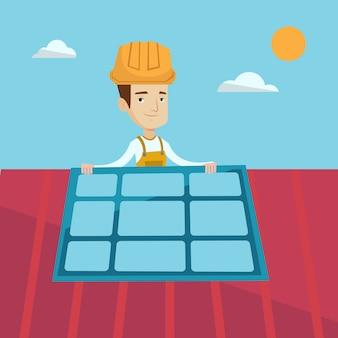 Construtor instalando painel solar.