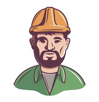 Construtor masculino no capacete em um fundo branco.