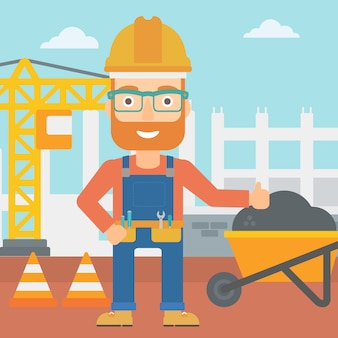 Construtor mostrando os polegares.