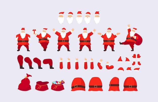 Construtor ou papai noel. rostos, parte do corpo. chapéus, bigode, barba, óculos para criar um papai noel diferente. fácil de fazer o seu papai noel.