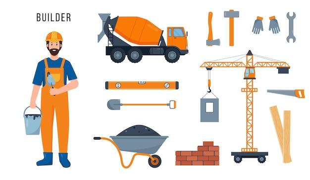 Construtor ou trabalhador da construção civil e conjunto de equipamentos, guindaste, misturador de concreto e ferramentas para o trabalho