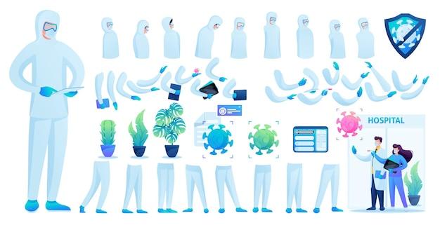 Construtor para a criação de um médico em traje de proteção n 4. crie o seu próprio médico para combater a epidemia. ilustração em vetor 2d plana.