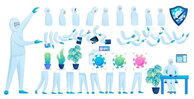Construtor para a criação de um médico em traje de proteção n 5. crie o seu próprio médico para combater a epidemia. ilustração em vetor 2d plana.