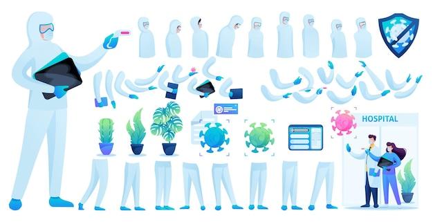 Construtor para a criação de um médico em traje de proteção n 8. crie o seu próprio médico para combater a epidemia. ilustração em vetor 2d plana.