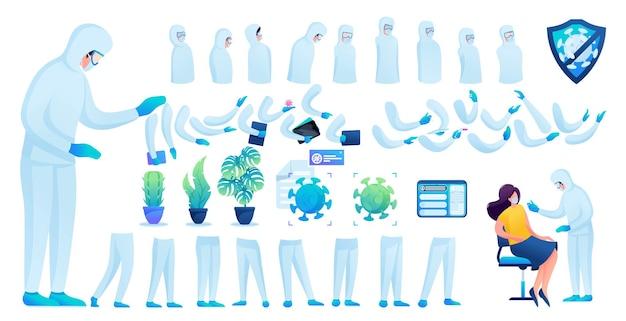 Construtor para a criação de um médico em traje de proteção n 9. crie seu próprio médico para combater a epidemia. ilustração em vetor 2d plana.
