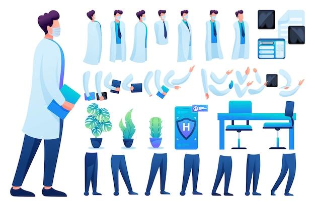 Construtor para a criação de um médico n 8. crie seu próprio personagem de médico com um conjunto de mãos e pés. ilustração em vetor 2d plana.
