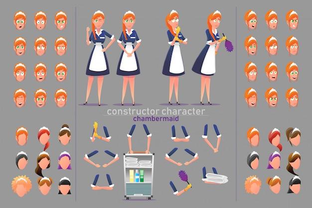 Construtor personagem camareira mulher poses.