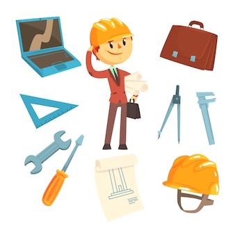 Construtor profissional e arquiteto e suas ferramentas, homem e seu conjunto de atributos de profissão de objetos isolados dos desenhos animados