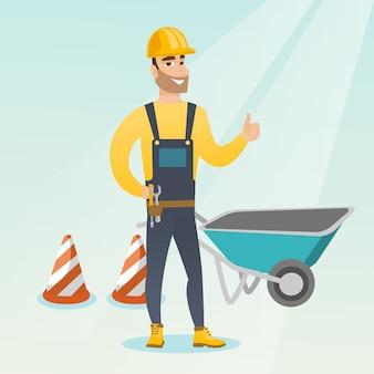 Construtor que dá o polegar acima da ilustração do vetor.