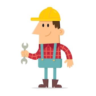 Construtor segurando a chave inglesa