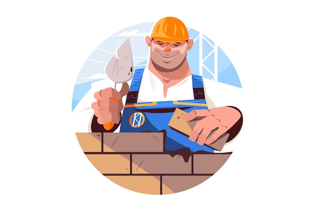Construtor segurando tijolo