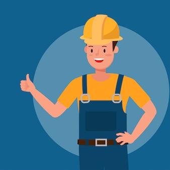 Construtor sorriso polegar para cima como personagem