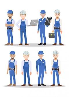 Construtor técnico e personagem de desenho animado trabalho em equipe mecânico para animação