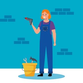 Construtora com furadeira e ferramentas