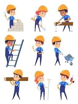 Construtores de crianças. pequenos personagens de trabalho no capacete amarelo para a construção de desenhos animados de construção profissional.