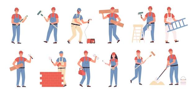 Construtores e mestres de reparação conjunto plano