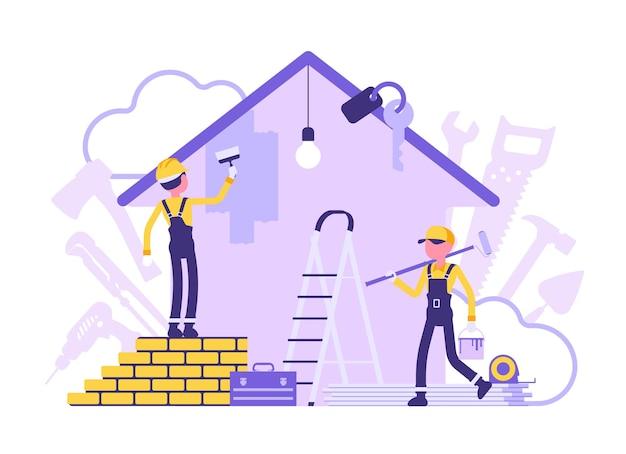Construtores fazendo conserto de apartamento