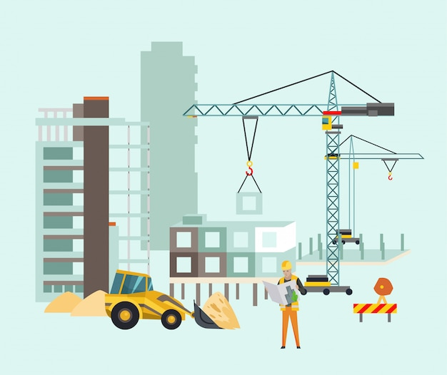 Construtores no canteiro de obras