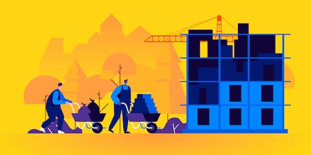 Construtores trabalhando no canteiro de obras