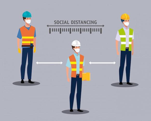 Construtores usando máscaras e distanciamento social para covid19