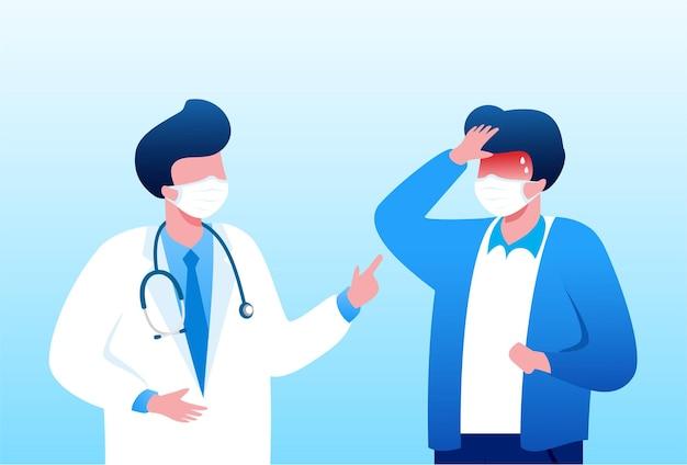 Consulta com médico banner de ilustração vetorial plana para página de destino e site