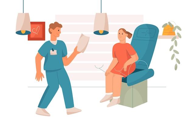 Consulta de ginecologia ilustrada